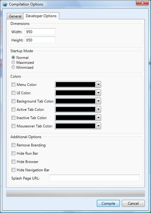 A new compile options window makes building entirely customized software simple