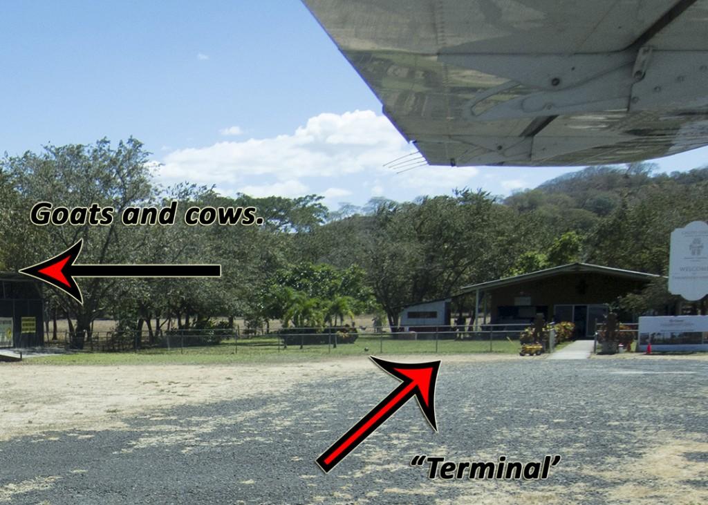 Actual picture of my destination: The Sansa Regional Airport in Tamarindo, Costa Rica.
